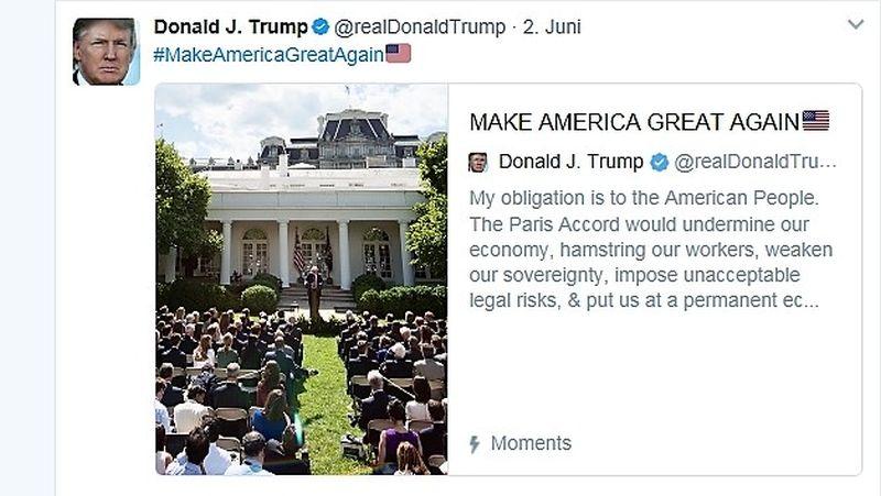 Tweetvon US-Präsident Donald Trump zum Ausstieg aus dem Pariser Umweltabkommen. MIt Bild, das ihn vor dem Weißen Haus zeigt.