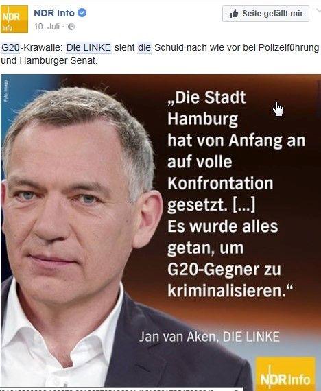 """Der Linkspolitier van Aken mit dem Text: """"Die Stadt Hamburg hat von Anfang an auf volle Konfrontation gesetzt ...""""g"""
