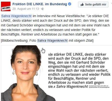 """Sahra Wagenknecht in einem """"Facebook""""-Beitrag."""