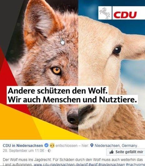 """Plakat der CDU im niedersächsischen Landtagswahlkampf: """"Andere schützen den Wolf. Wir auch Menschen und Nutztiere"""", heißt es dort. Unterstellt wird, dass Naturschützer das Wohl von Menschen und Weidetieren nicht im Blick hätten."""