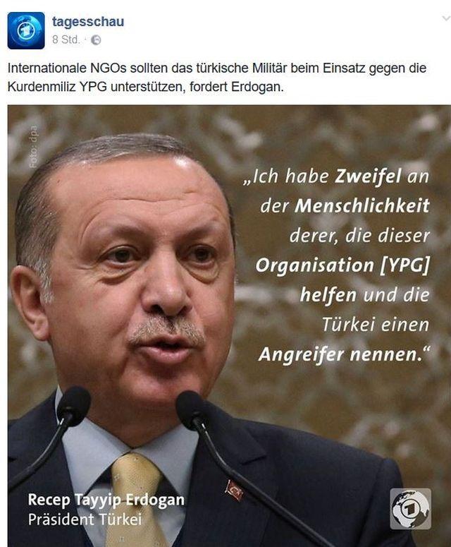 Präsident Erdogan zweifelt an der Menschlichkeit derer, die ihm bei seiner Attacke auf syrische Kurden in den Arm fallen wollen.