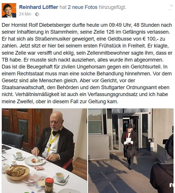 Der Hornist Diebetsberger beim Frühstück in Freiheit nach zwei Tagen Beugehaft.