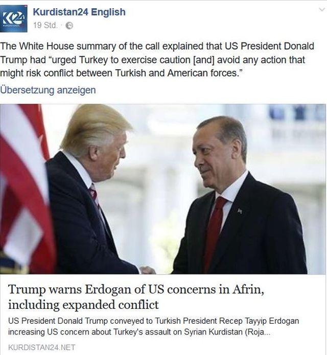 Donald Trump und Recep Tayyip Erdogan gemeinsam im Bild. Bericht über ein Telefonat, bei dem der US-Präsident seinen türkischen Kollegen zur Zurückhaltung im Konflikt mit syrischen Kurden auffordert.