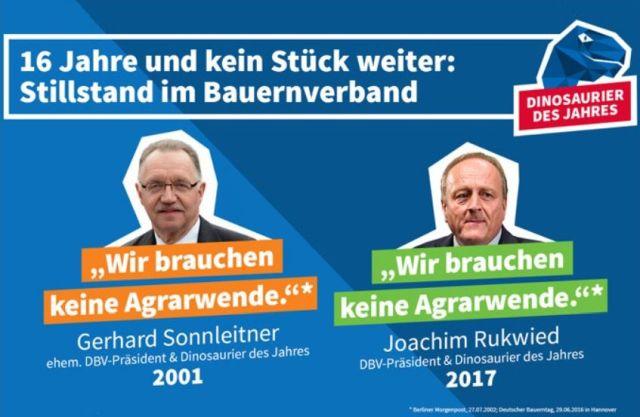 """Der frühere Präsident des Deutschen Bauernverbands Gerhard Sonnleitner und der aktuelle Präsident Joachim Rukwied mit der Aussage """"Wir brauchen keine Agrarwende""""."""