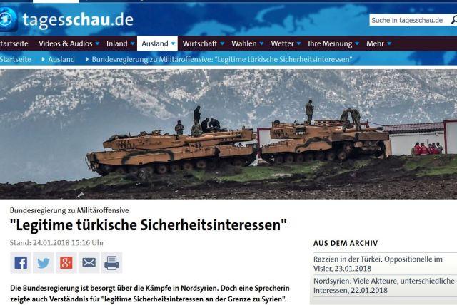 """Panzer der türkischen Armee in einem Bericht der """"Tagesschau"""" mit dem Titel """"Türkische Sicherheitsinteressen""""."""