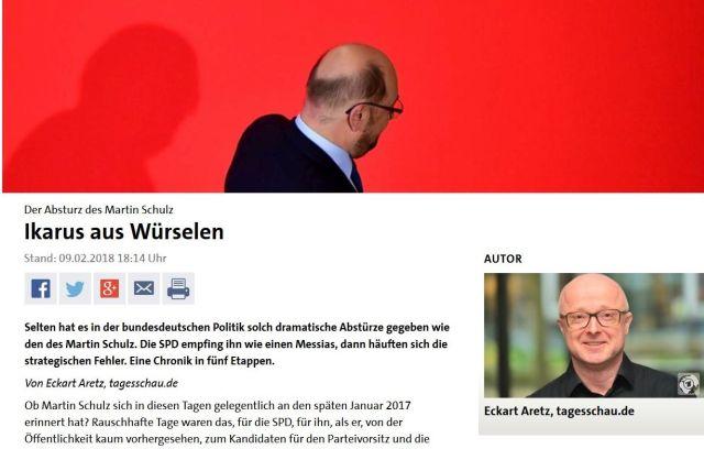 """Mrtin Schulz in einem Beitrag der Tagesschau mit dem Titel """"Ikarus von Würselen""""."""