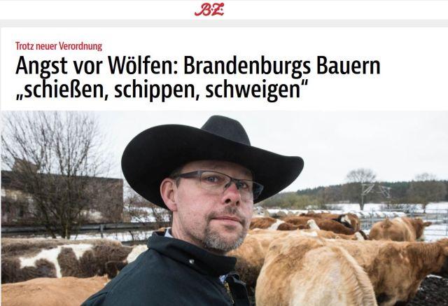 """Der Vorsitzende des Bauernbunds in Brandenburg mit breitkrempigem Hut. Die Überschrift """"Schießen, schippen, schweigen"""" legt den Gedanken nahe, man dürfe illegal Wölfe erschießen."""