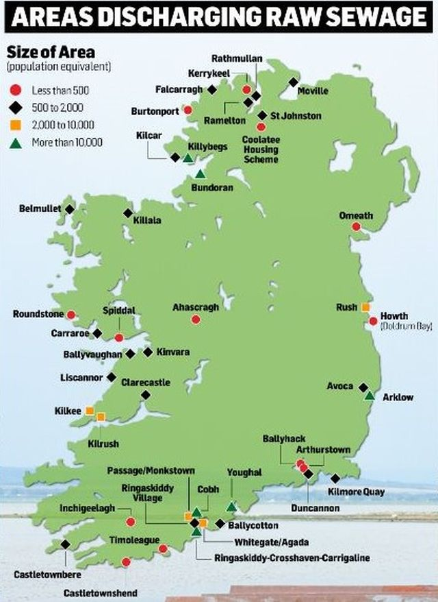 """Irland: Eine Karte des """"Irish Independent"""" zeigt die Kommunen, die ihre Abwässer ungeklärt ins Meer oder Binnengewässer einleiten."""