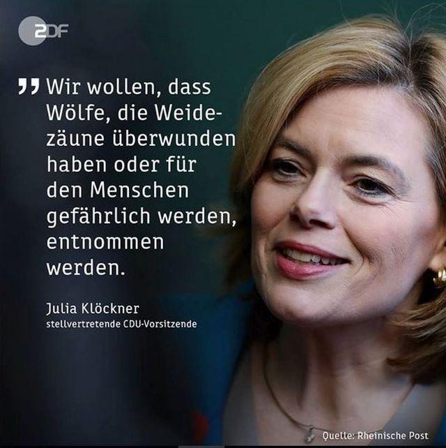 """Julia Klöckner agitiert gegen Wölfe - """"CDU, Bauernverband & Co. blasen zur Treibjagd auf Wölfe"""", in: www.deutschland-geliebte-bananenrepublik.de"""