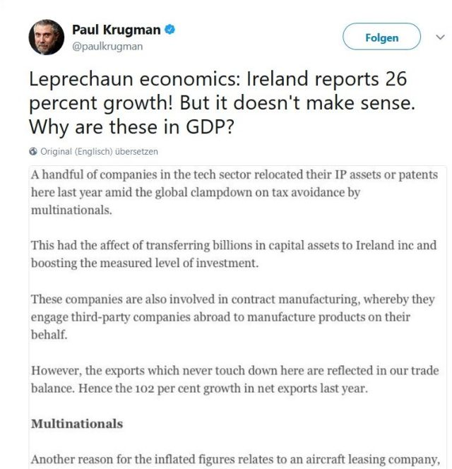 Irland zwischen Brexit und Wassergebühren: Der US-Nobelpreisträger stellte die Verlässlicghkeit volkswirtschaftlcher Daten aus Irland in Frage.