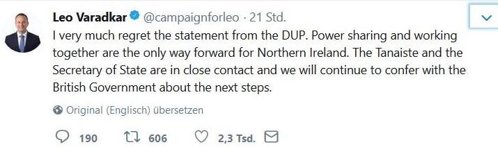 Der irische Premierminister, Leo Varadkar, sieht die Schuld am Scheitern der Gespräche zur Bildung einer Regierung in Nordirland bei der DUP.