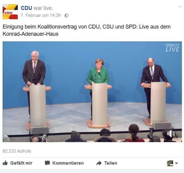 """Angela Merkel, Horst Seehofer und Martin Schulz an Rednerpulten bei der Bekanntgabe des Koalitionsvertrags. Beitrag """"Das letzte Halali der GroKo-Wolfsjäger""""."""