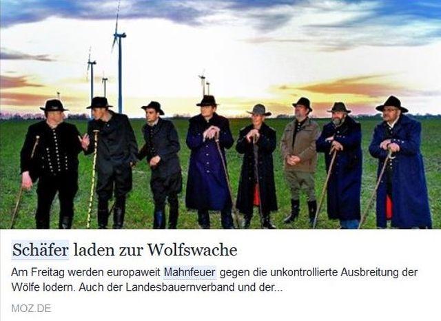 """Einige Gestalten, wohl Schäfer, lehnen sich gemütlich auf ihre Schäferstäbe: Ob sogenannte """"Mahnwachen"""" den Schafen mehr Schutz bringen? Besser wäre es, wenn diese Herren Elektrozäune errichten würden."""