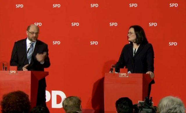 Martin Schulz und Andrea Nahles bei einer SPD-Pressekonferenz.