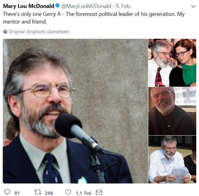 Mehrere Fotos von Gerry Adams, dem früheren Präsidenten von Sinn Féin.