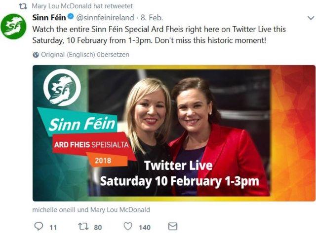 Mary Lou McDonald und Michelle O'Neill in einem Tweet aus Anlass ihrer Wahl zur Vorsitzenden bzw. deren Stellvertreterin auf einem Sinn Féin-Kongress in Dublin.