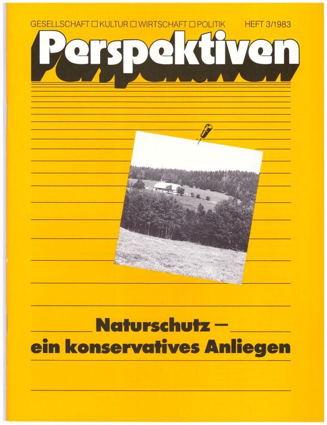 """Frontseite der Zeitschrift """"Perspektiven"""" mit dem Titel """"Naturschutz - ein konservatives Anliegen"""" und einem Foto eines einsamen Hofes im Schwarzwald.dem"""