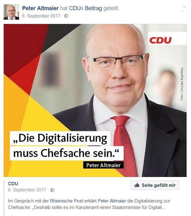 """Peter Altmaier mit dem Text """"Die Digitalisierung muss Chefsache sein"""". Völlig richtig! Aber die Regierung unter Angela Merkel hat zu wenig für schnelle Datennetze getan."""