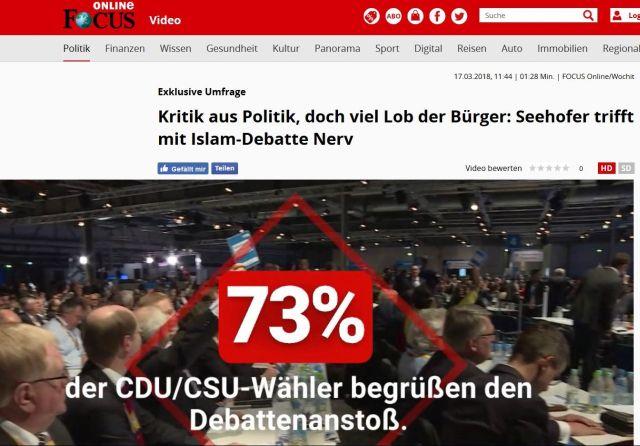 Im Bild die Aussage, dass 73 % der Deutschen die neuerliche Diskussion über den Islam in Deutschland begrüßen.