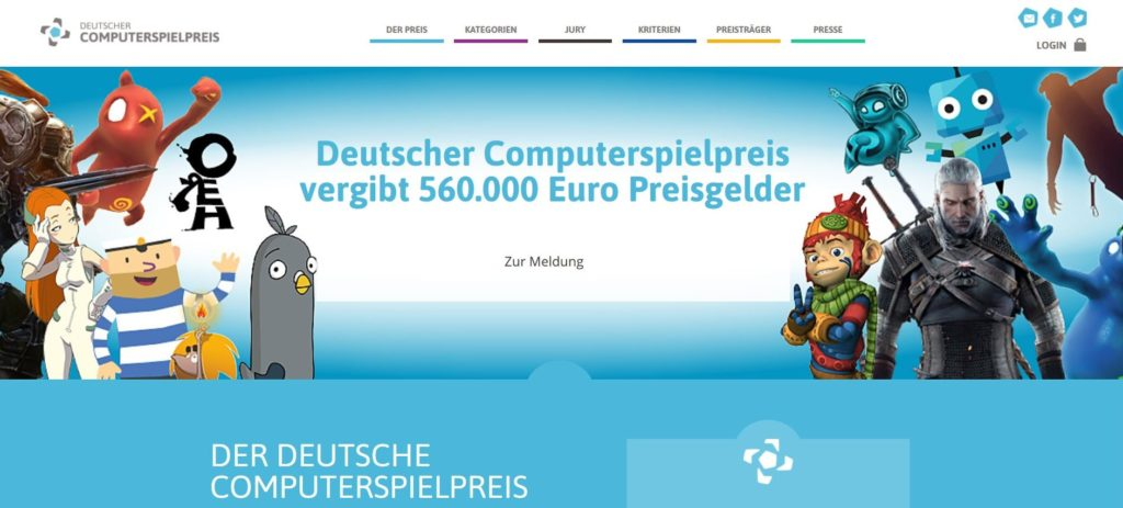 Ausschreibung Deutscher Computerspielpreis 2018