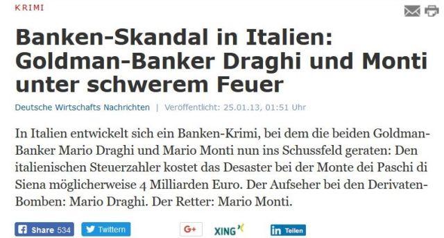 """""""Banken-Skandal in Italien: Goldman-Banker Draghi und Monti unter schwerem Feuer'."""