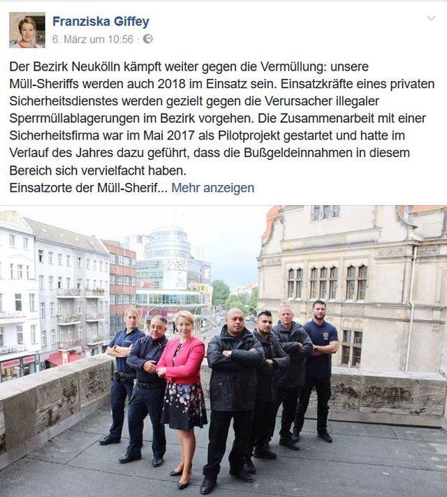 Franziska Giffey in ihrer Funktion als Bezirksbürgermeisterin von Berlin-Neukölln mit ihren Müll-Sheriffs.
