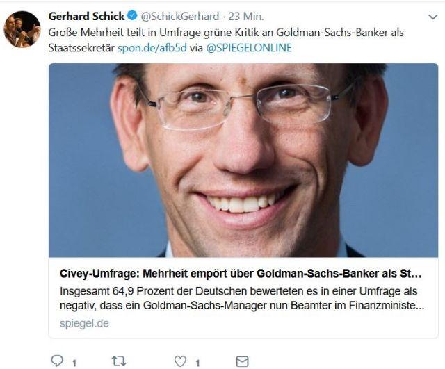 Gerhard Schick wendet sich in Twitter gegen die Berufung eines Investmentbankers zum Staatssekretär.