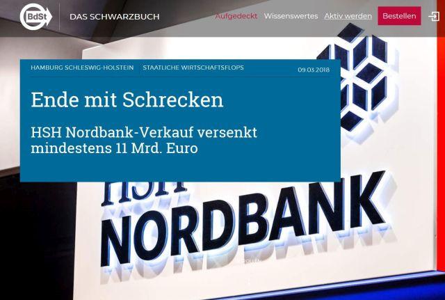 HSH Nordbank im Visier des Bundes der Steuerzahler.