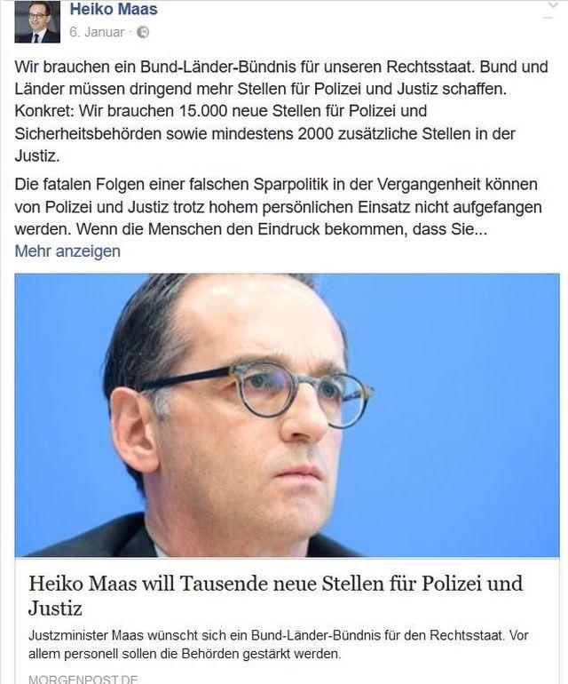 Heiko Maas beklagt die Sparpolitik bei der Polizei, doch die SPD regiert in Berlin mit.