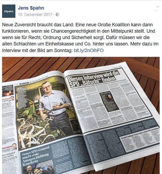 """Jens Spahn will die """"alten Schlachten um Einheitskasse & Co."""" nicht mehr schlagen."""