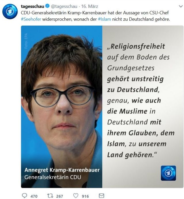 Annegret Kramp-Karrenbauer lenkt mit einem Ausflug in die Religionsfreiheit vom eigentlichen Thema, der Stellung des Islam, ab.