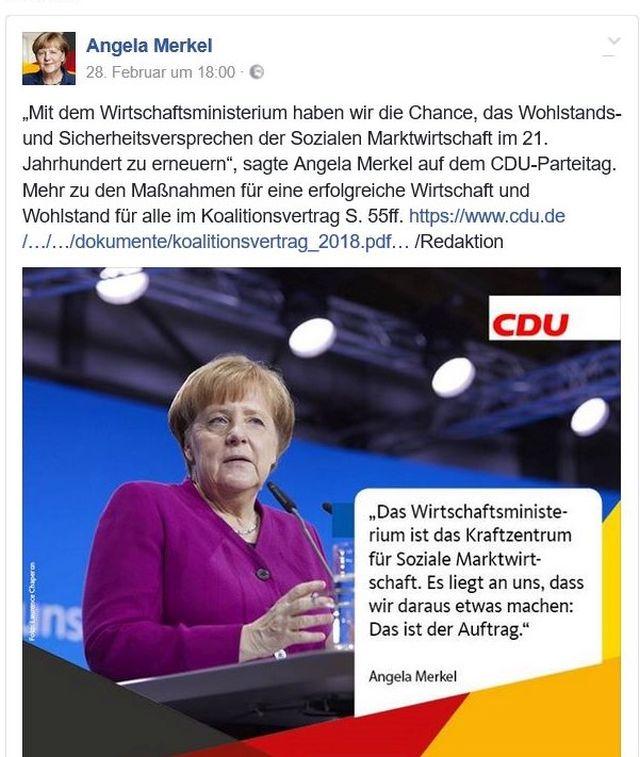 Im Bild Angela Merkel, die die Bedeutung des Wirtschaftsministeriums betont, um vom Verlust des Finanzministeriums abzulenken.