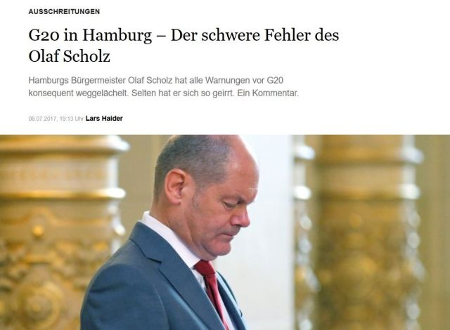 """Olaf Scholz in der """"Berliner Morgenpost"""" mit dem Titel """"Chaos in Hamburg - Der schwere Fehler des Olaf Scholz""""."""