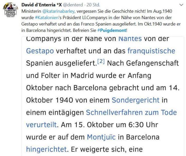 Tweet mit dem Hinweis, dass Nazi-Deutschland einen katalanischen Regionalpräsidenten an Franco-Spanien auslieferte. Er wurde dort ermordet.