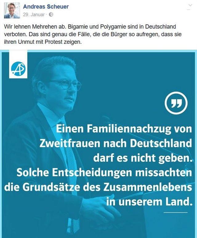 """Andreas Scheuer in """"Facebook"""": Kein """"Familiennachzug von Zweitfrauen""""."""
