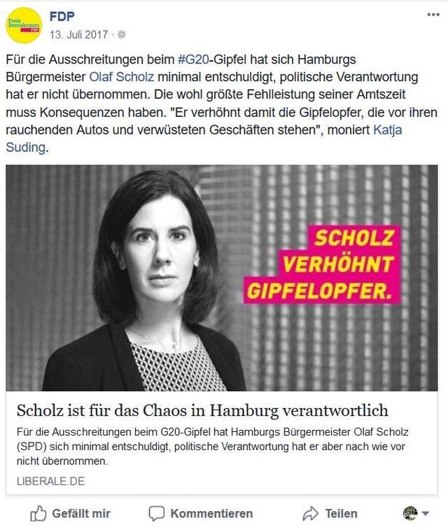 """Katja Suding mit dem Text """"Scholz verhöhnt Gipfelopfer"""". Sie erinnert an das Versagen von Olaf Scholz bei den Krawallen rund um den G 20-Gipfel in Hamburg."""