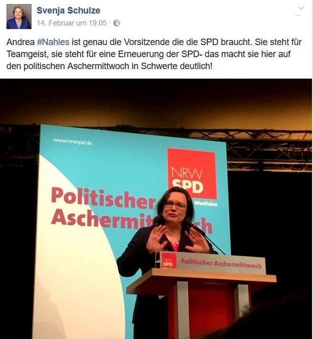 """Andrea Nahles beim Politischen Aschermittwoch"""" - großes Lob von Svenja Schulze."""
