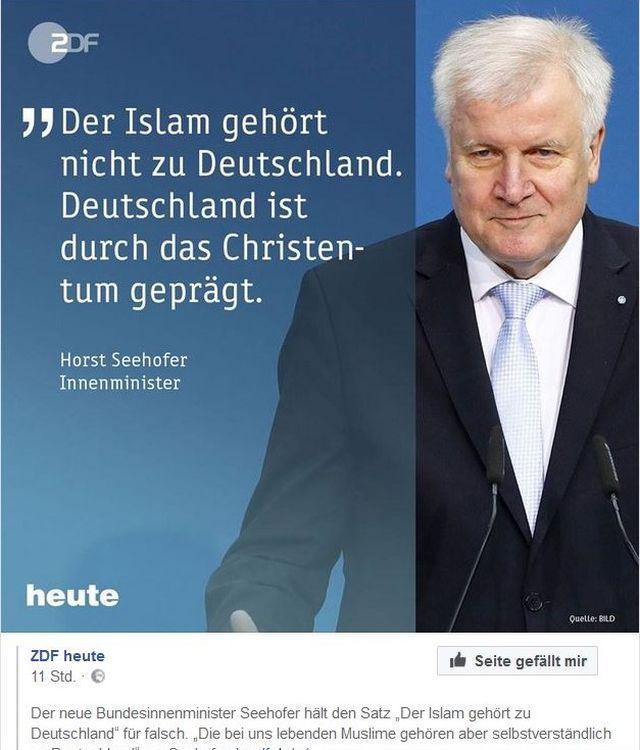 """Horst Seehofer im Bild mit dem Text """"Der Islam gehört nicht zu Deutschland. Deutschland ist durch das Christentum geprägt."""""""