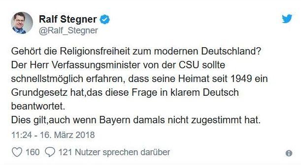 Tweet von Ralf Stegner: Flott am Thema vorbei.