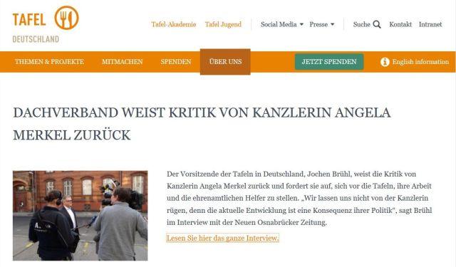 Internet-Seite des Bundesverbands der Tafeln: Sie wehren sich gegen unsachliche Kritik der Bundeskanzlerin.