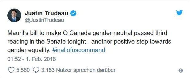 Twitter-Meldung von Justin Trudeau, der sich über die genederneutrale Nationalhyne freut.