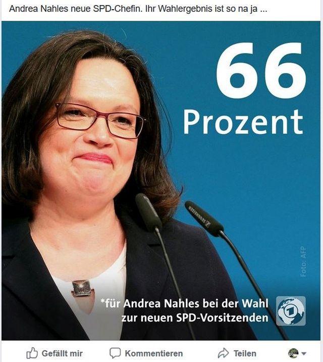 Andrea Nahles im Bild mit dem Wahlergebnis: 66 %.