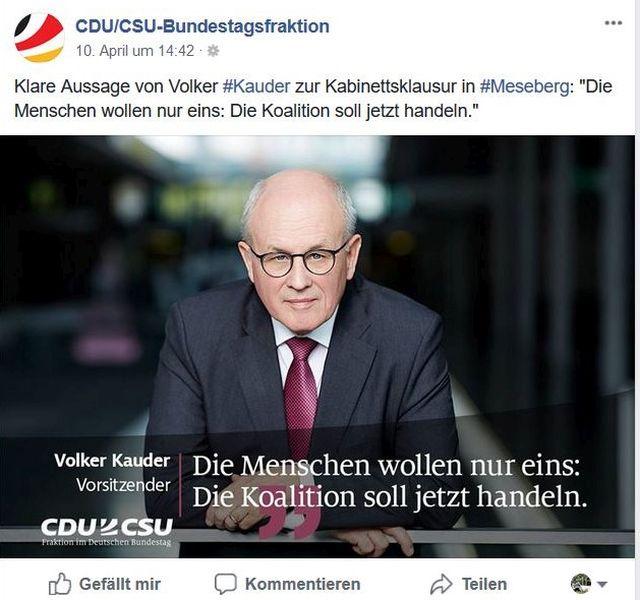 Volker Kauder fordert die Koalition zum Handeln auf.