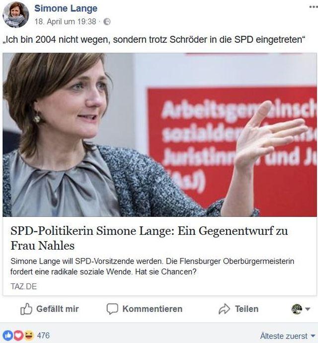 """Simone Lange im Bild mit dem Bildtext: """"Ein Gegenentwurf zu Frau Nahles""""."""