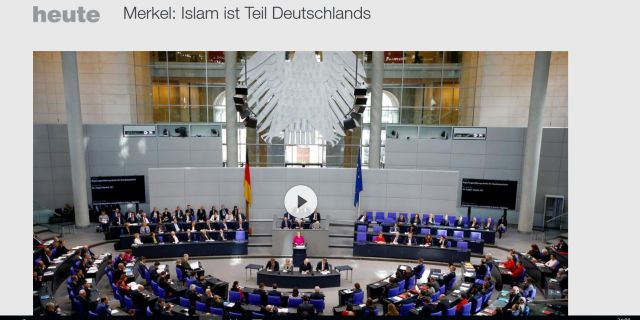 Bundeskanzlerin Merkel: Islam gehört zu Deutschland. Aber sie sträubt sich gegen jede Diskussion über den Einfluss, den eine freitliche Demokratie dem Islam zubilligen kann.