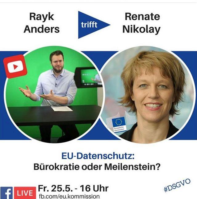 """Facebook-Post mit dem Titel """"EU-Datenschutz: Bürokratie oder Meilenstein"""" und Fotos der Diskussionsteilnehmer."""