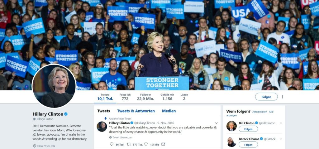 Hillaey Clintons Twitter-Account.