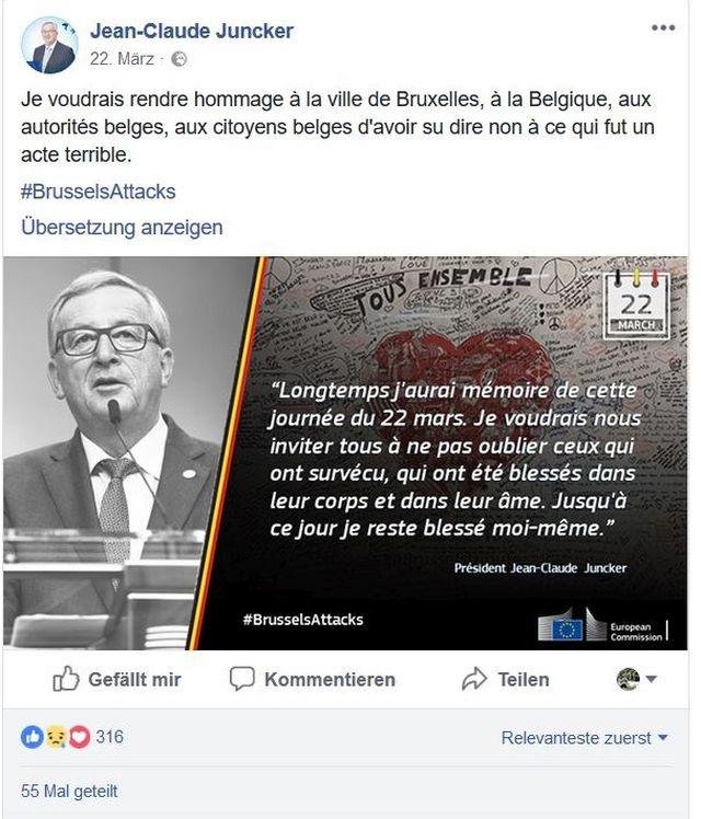 Jean-Claude-Juncker im Bild und ein kurzer Text zu Brüssel als Facebook-Post.