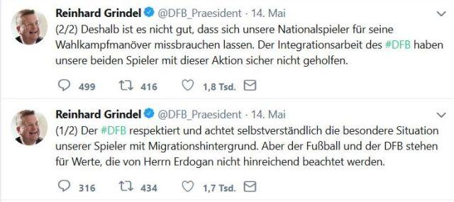 Zwei Tweets von DFB-Präsident Grindel:.