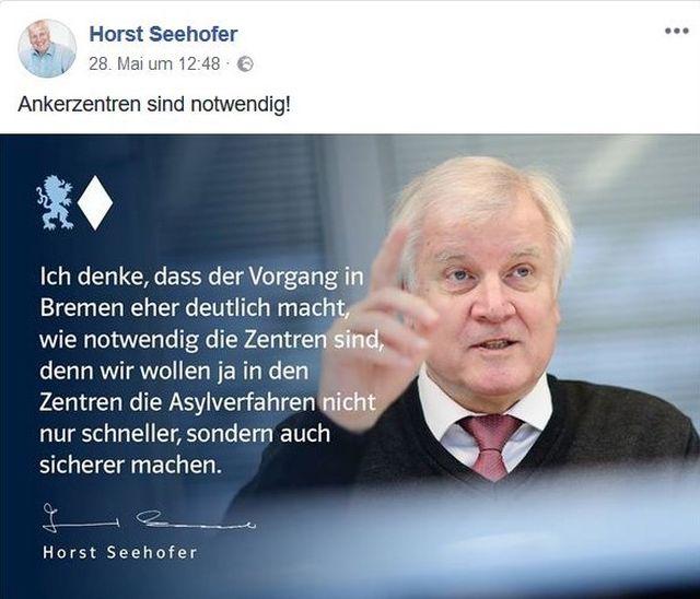 Horst Seehofer fordert Ankerzentren.